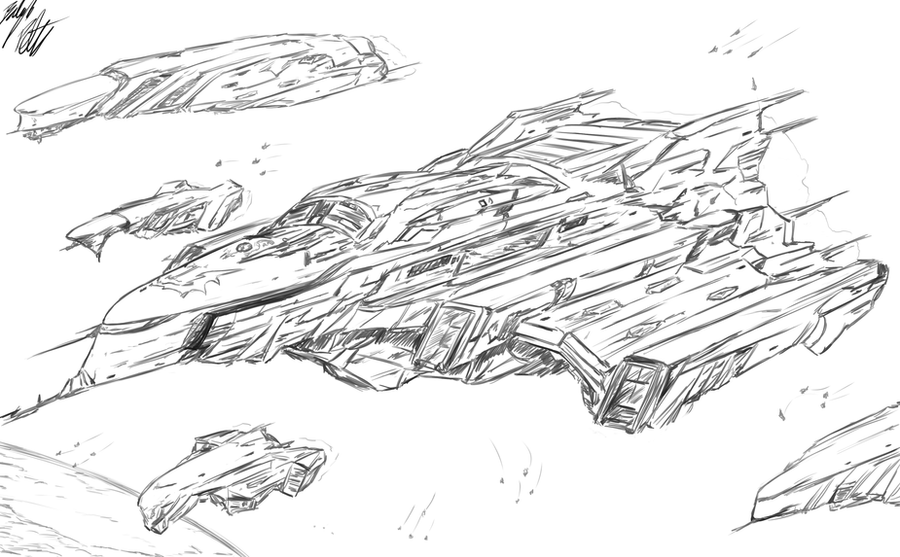 Lineart: Lemurian Fleet by PeterPrime