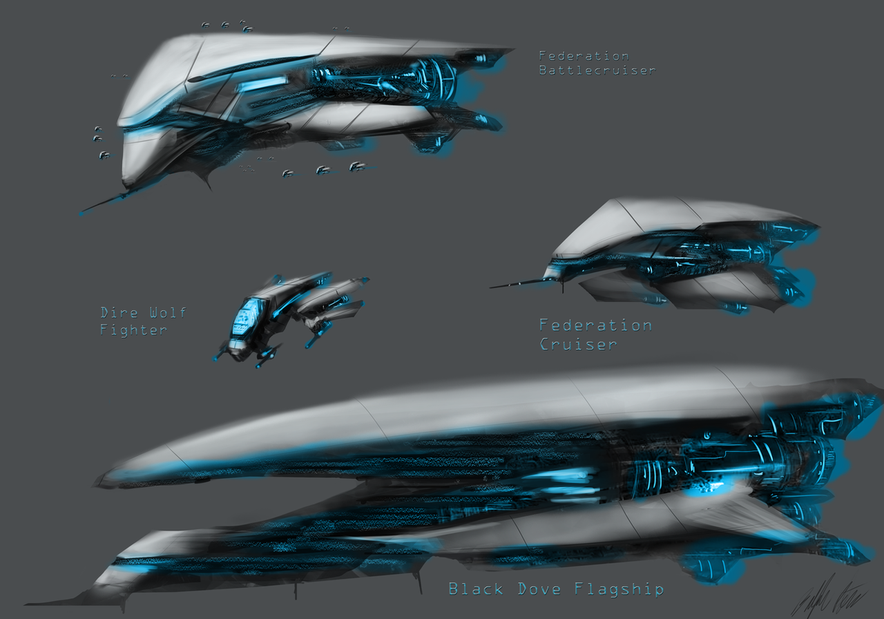 Federation Spaceships by PeterPrime
