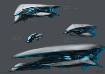 Federation Spaceships by PeterPrime