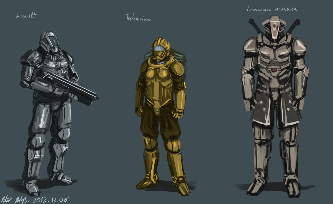 Soldier sketches by PeterPrime