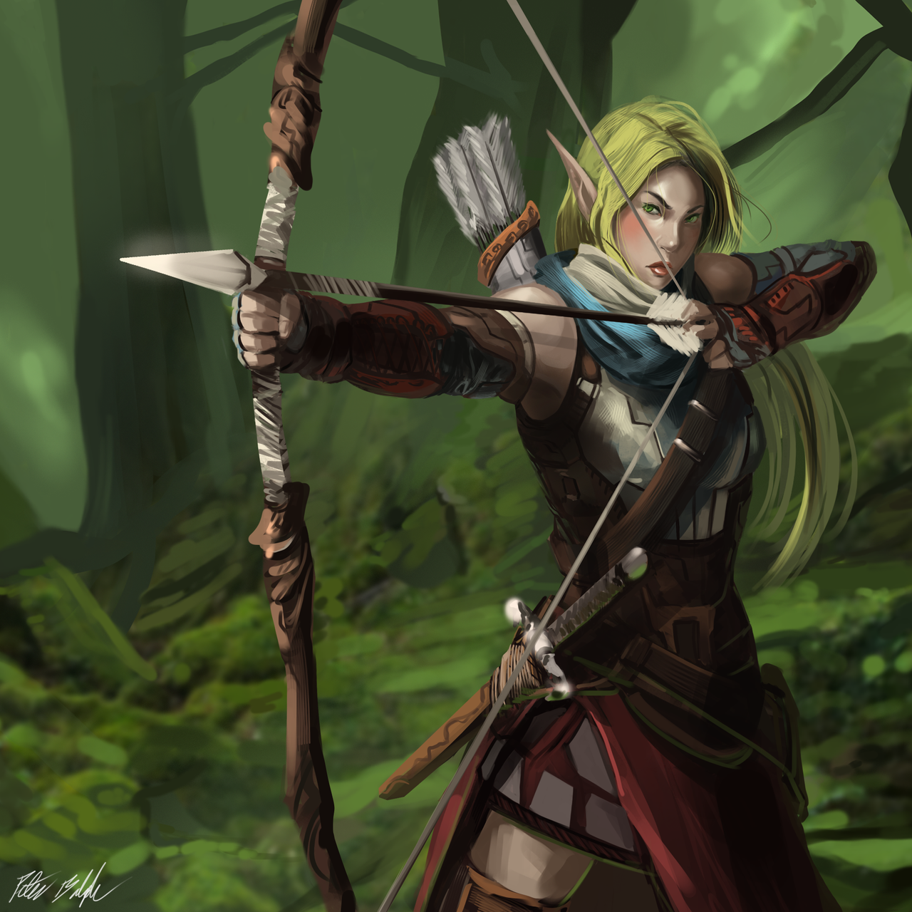 Elven Archer (Female) by PeterPrime