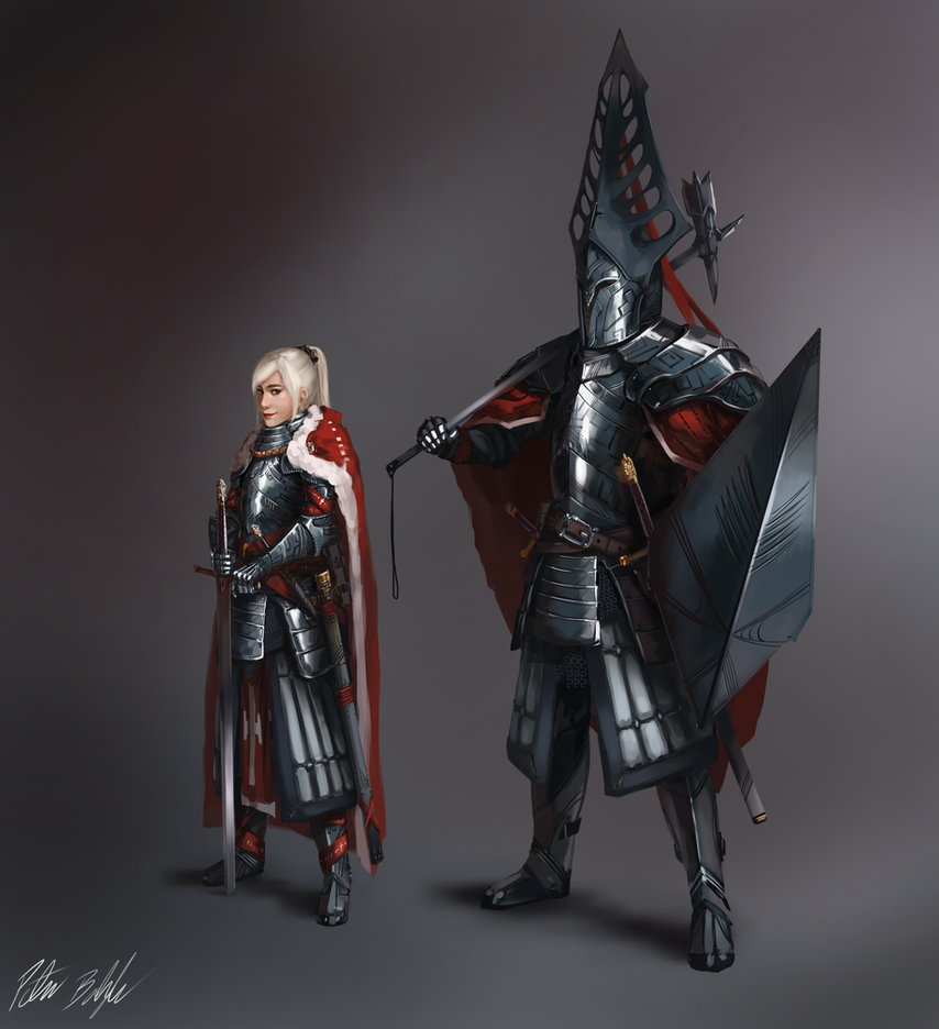 Praetorian Lucetta and Pharamond, the Holy Aegis by PeterPrime
