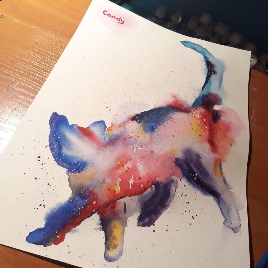 Galaxy cat by CandyMeCandy