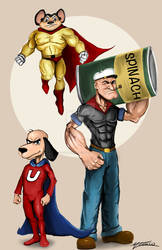 Old Heroes Popeye Underdog and Mighty Mouse