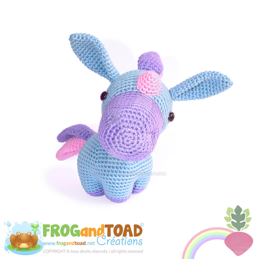 PROSPER - Unicorn Licorne Amigurumi - Front View by FROG-and-TOAD