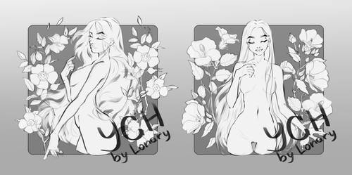 [Open] YCH Auction: 99-100. girls and flowers_2 by Lonary