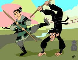 Mulan Versus Monkey Fist by LMColver