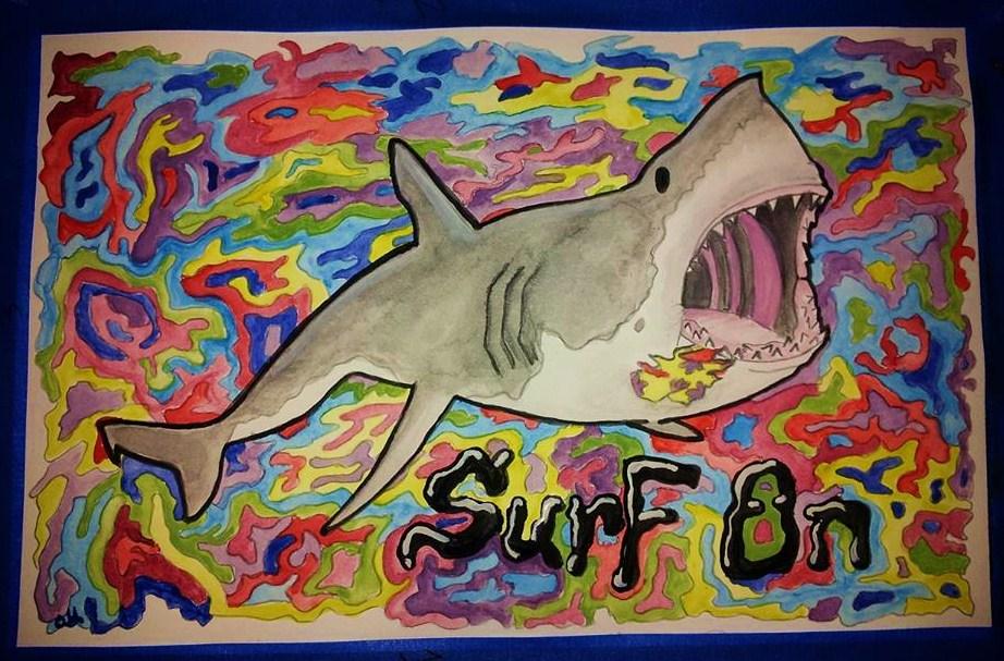 Surf On - Great White Shark by jelikattebayo