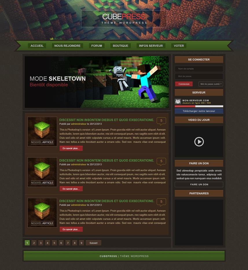 Minecraft Wordpress theme by CraPul on DeviantArt