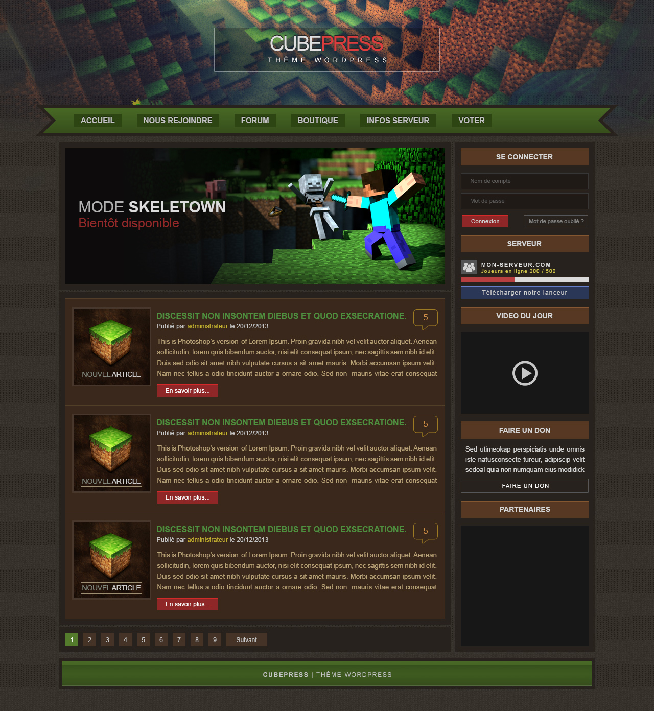 Minecraft Wordpress theme by CraPul on DeviantArt