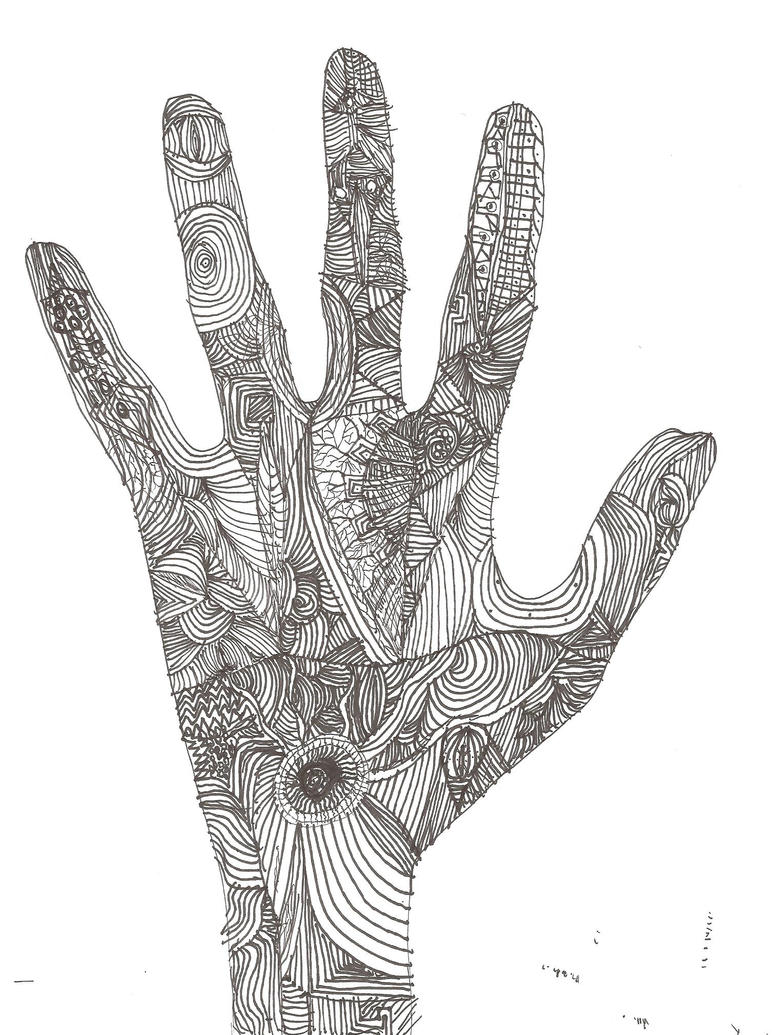 Contour Line Drawing Of Hand : Hand of contour lines by cactuar on deviantart