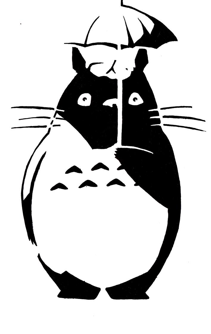 Totoro stencil by matsu on deviantart