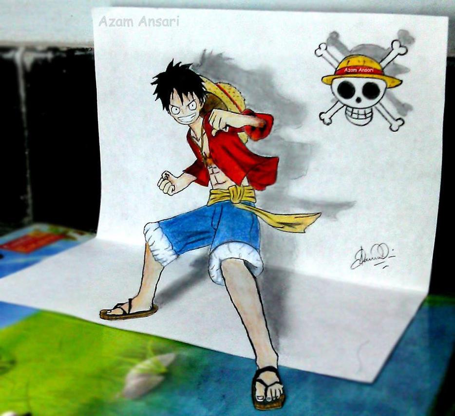 3D Luffy Sketch by Otakyuubi
