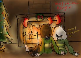 Undertale Christmas DAY 20 - sitting by the fire by YuiMurasaki
