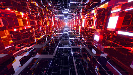 Black and Red Mirrored Tunnel - Wallpaper by Dr-Pen