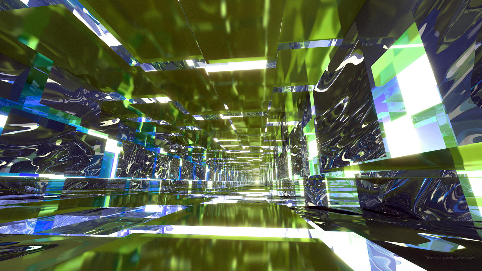 Lime green and blue mirrored tunnel by dr pen on deviantart for Lime and blue