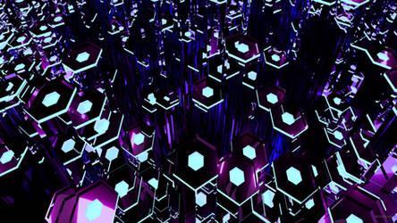 Deep Purple Tron Hexagons