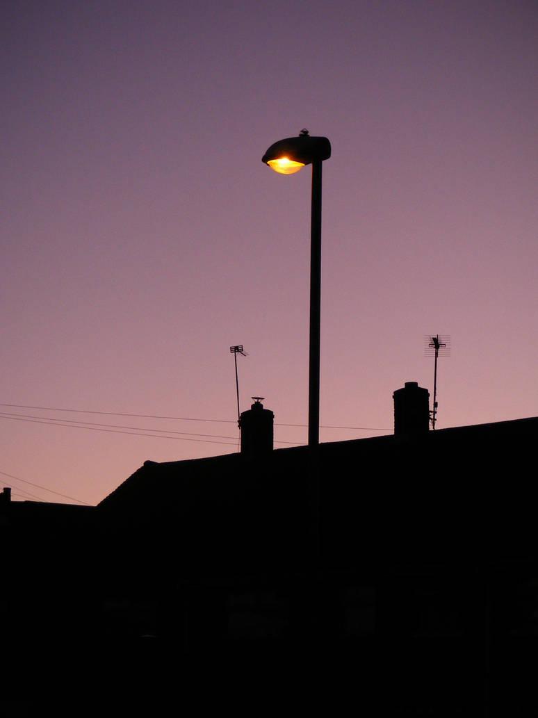 Christmas sunset Street light