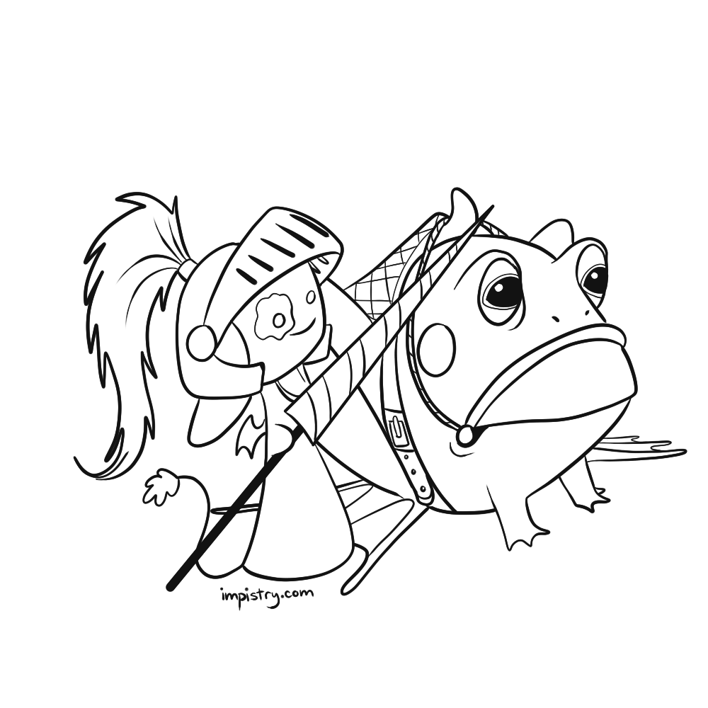Knight Impling and their froggy steed