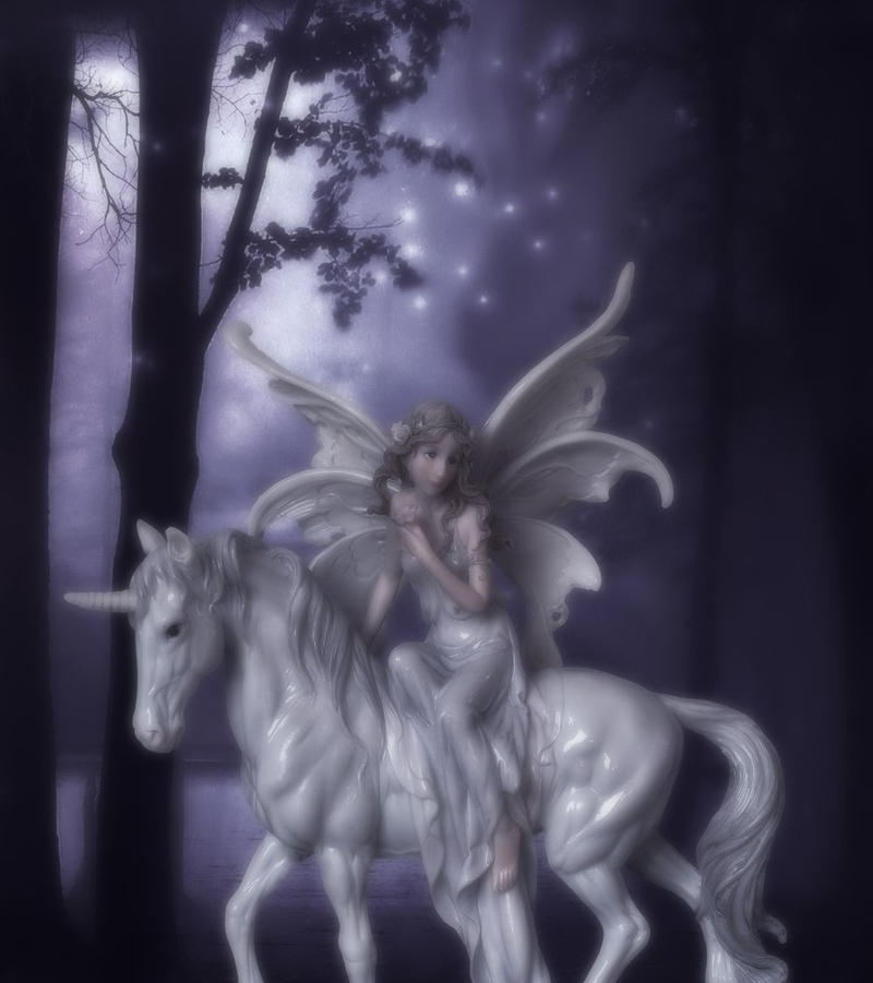 Forest Fairy and Her Unicorn by VisualPoetress