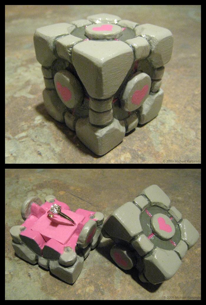 Companion Cube Ring Box by risu-san