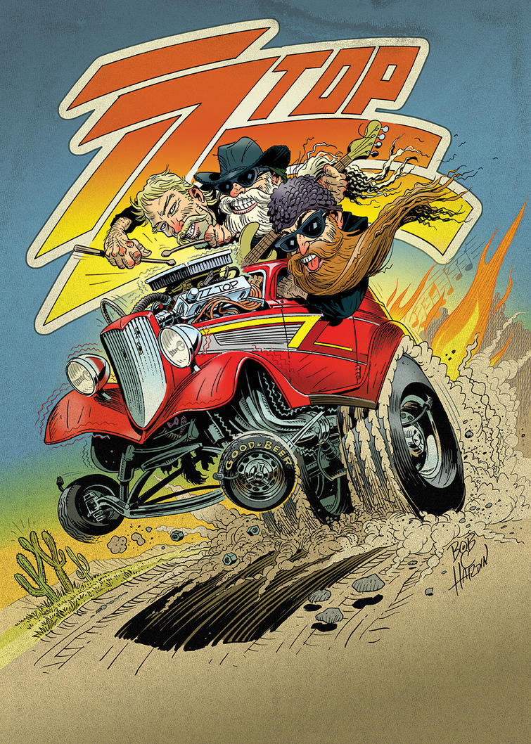 ZZtop Eliminator CARtoon 2014 Tour by Bob-C-Hardin