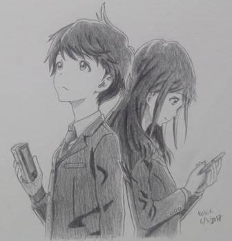Kotarou Azumi and Akane Mizuno (Tsuki ga Kirei) by tetrix1993