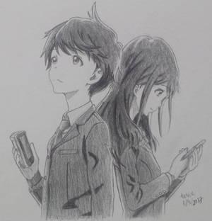 Kotarou Azumi and Akane Mizuno (Tsuki ga Kirei)