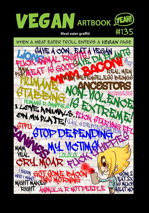 Meat eater graffiti by veganartbook