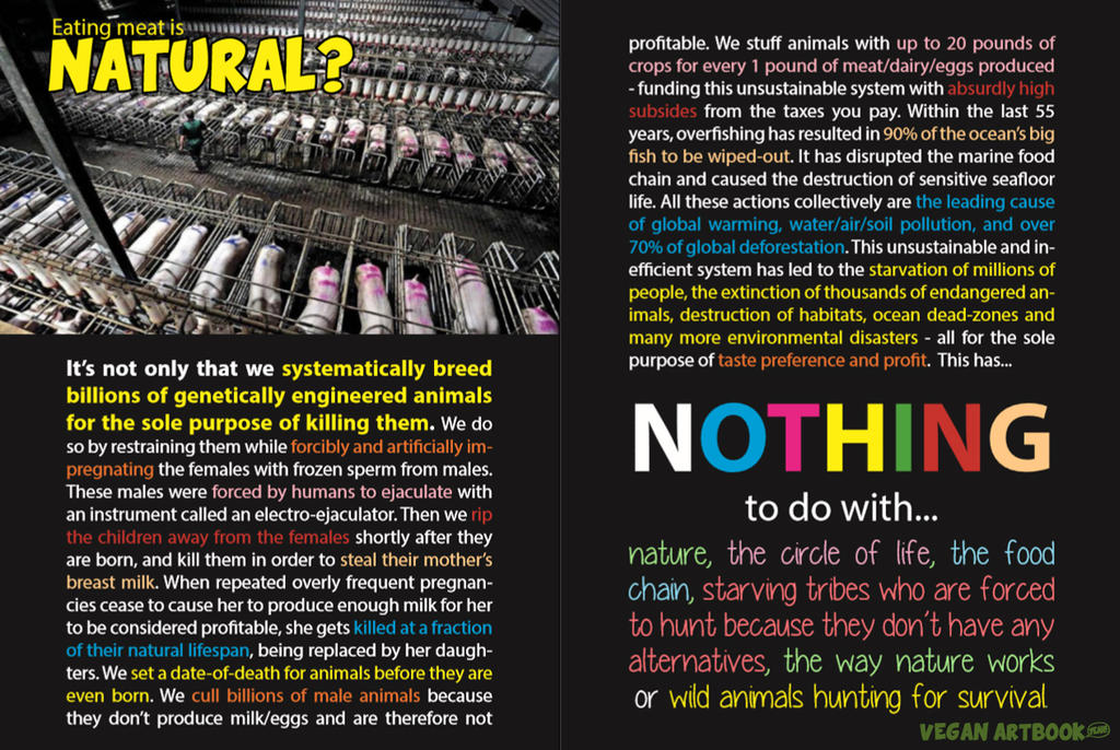 Eating meat is natural + food chain by veganartbook