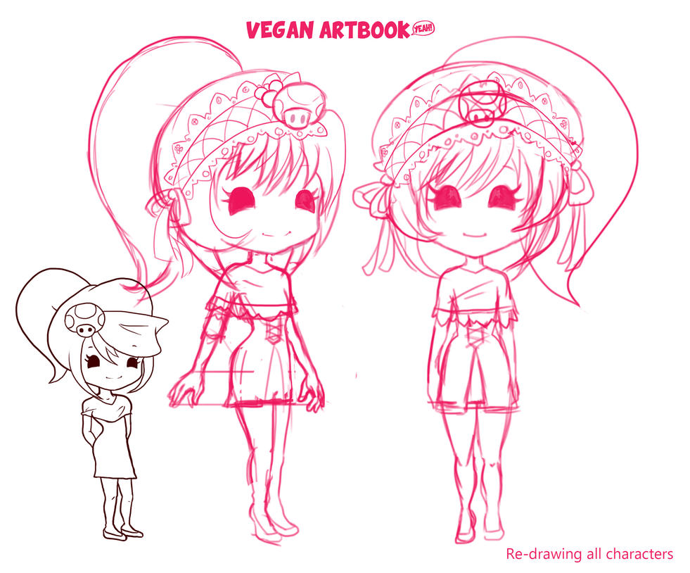 Re-drawing all of my comic characters by veganartbook