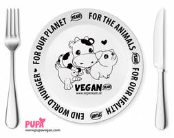 Vegan porcelain dinner plate - Why vegan by Pupaveg