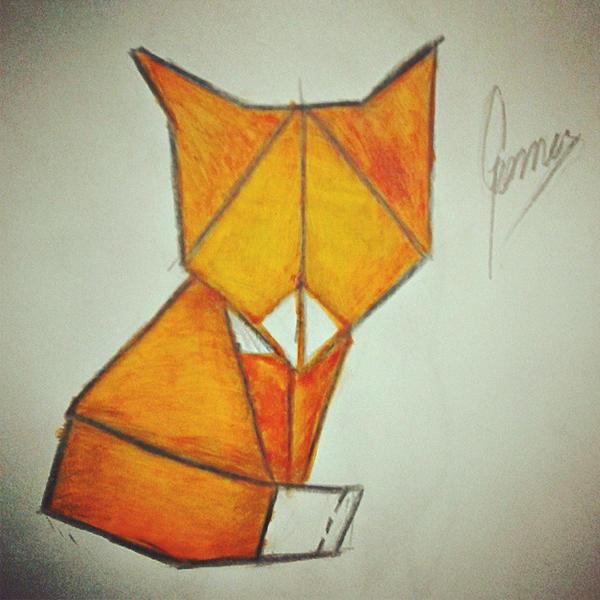 Origami fox by RocketDesignRE
