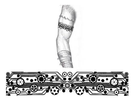 Industrial Steampunk arm band tattoo