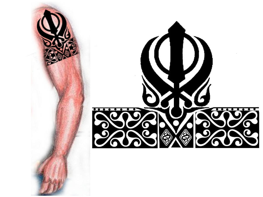 sikh khanda tribal tattoo by thehoundofulster on deviantart. Black Bedroom Furniture Sets. Home Design Ideas
