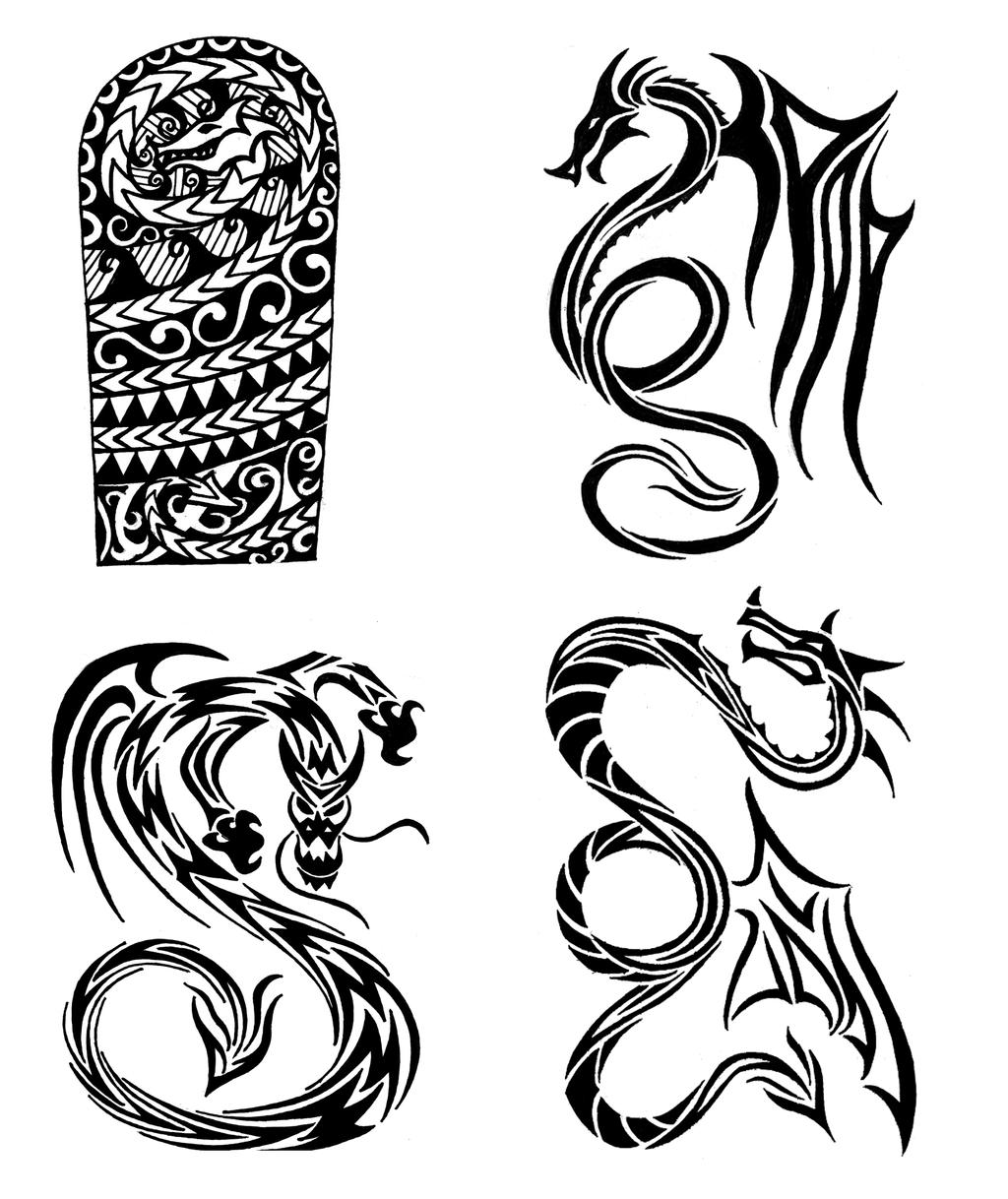 tribal dragons tattoo designs by thehoundofulster on deviantart. Black Bedroom Furniture Sets. Home Design Ideas