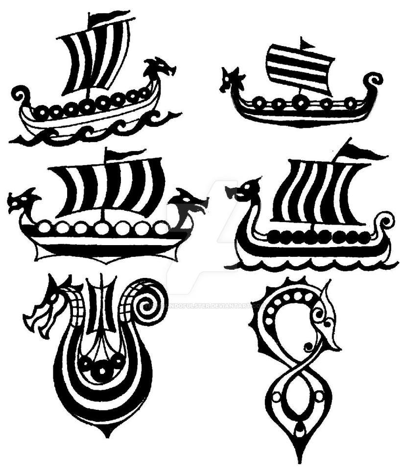 drakkar viking ship small tattoo flashes by thehoundofulster on deviantart. Black Bedroom Furniture Sets. Home Design Ideas