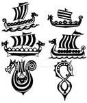 Drakkar - viking ship - small tattoo flashes