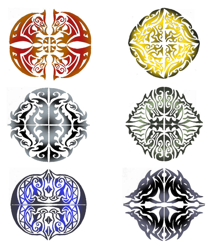 tribal dragon heads shields designs by thehoundofulster on deviantart. Black Bedroom Furniture Sets. Home Design Ideas