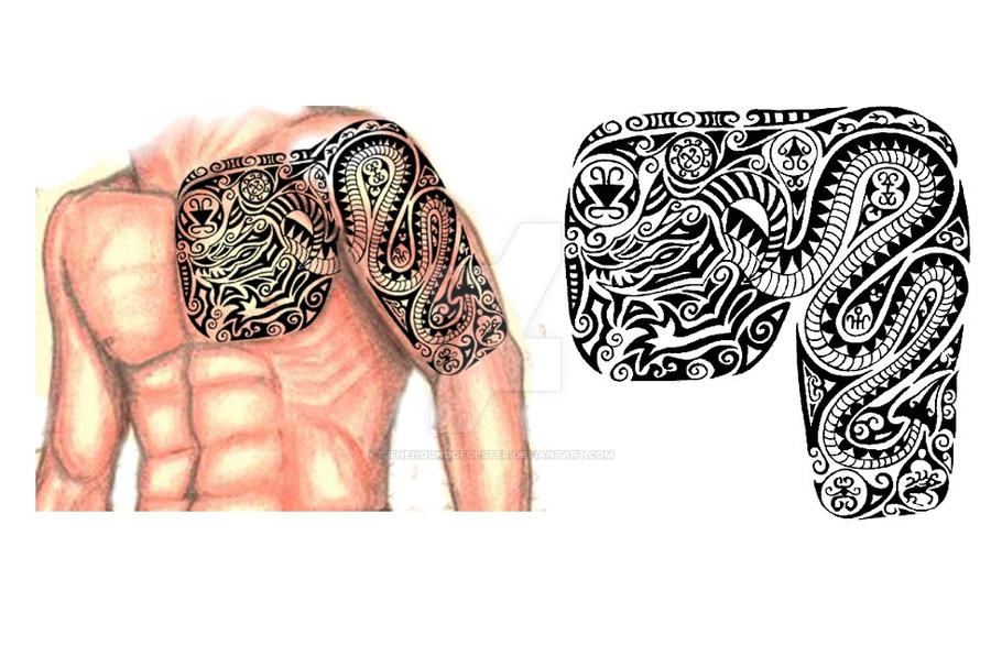 Scythian chest arm sleeve tattoo by thehoundofulster on for Chest and sleeve tattoo