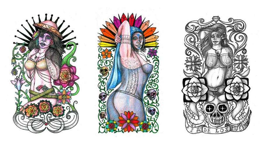 day of the dead girls tattoo designs by thehoundofulster on deviantart. Black Bedroom Furniture Sets. Home Design Ideas