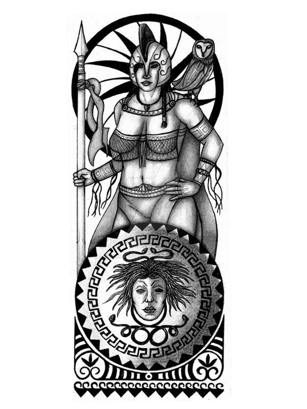 Athena Greek Warrior Goddess Tattoo Design By