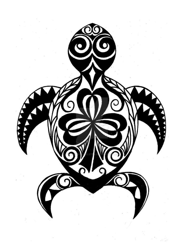 hawaiian turtle honu with irish shamrock tattoo by thehoundofulster on deviantart. Black Bedroom Furniture Sets. Home Design Ideas