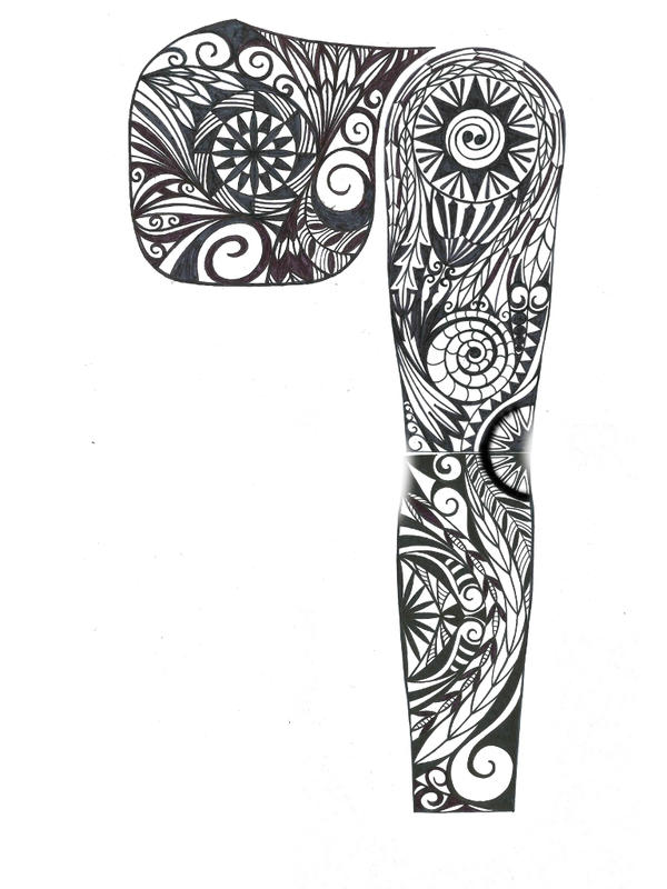 Sketch Style Tattoo Sleeve: Tribal Pec Sleeve Tattoo Design By Thehoundofulster On
