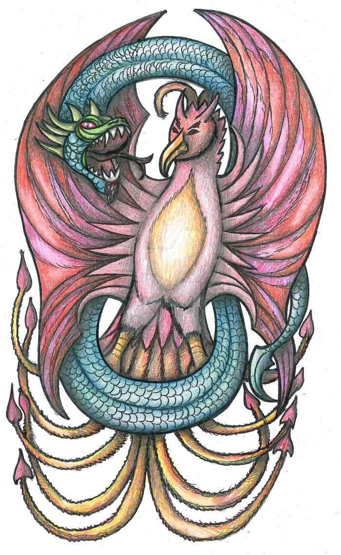 Dragon and Phoenix tattoo by thehoundofulster