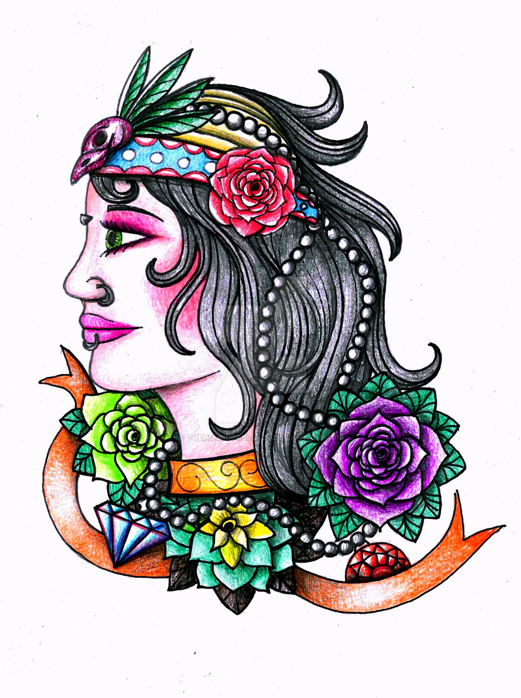 Tattoo pin up girls designs - Pin Updoll 10 4 Gypsy Girl Tattoo Design By Thehoundofulster