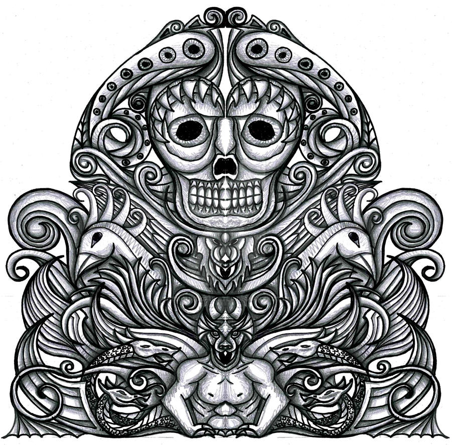 Grotesque Gothic Tattoo Design 2 By Thehoundofulster On