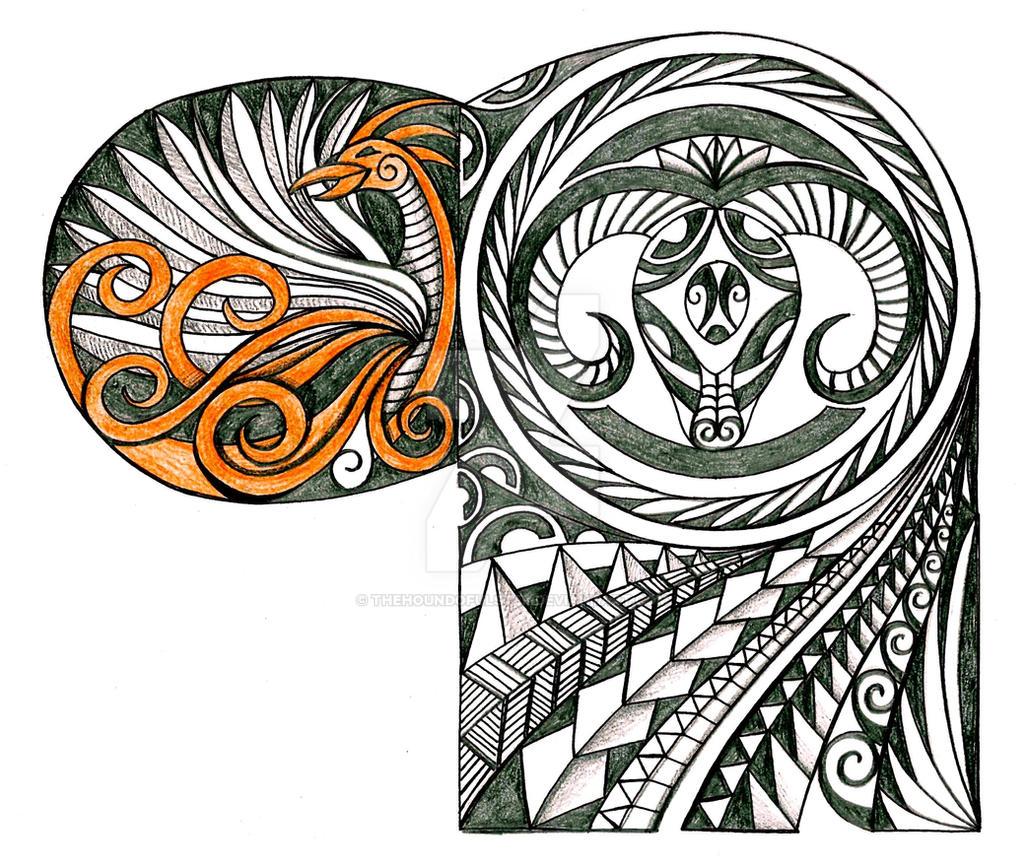 Polynesian Tribal Wallpaper: Polynesian Ram And Phoenix Tattoo By Thehoundofulster On