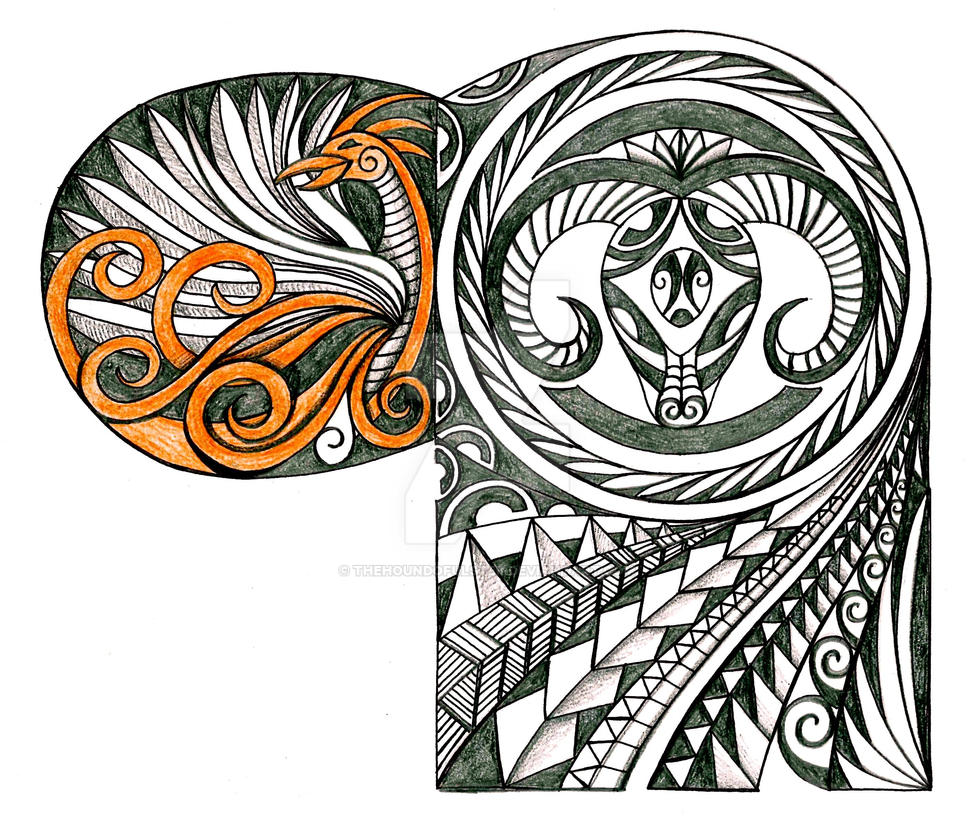 polynesian ram and phoenix tattoo by thehoundofulster on deviantart. Black Bedroom Furniture Sets. Home Design Ideas