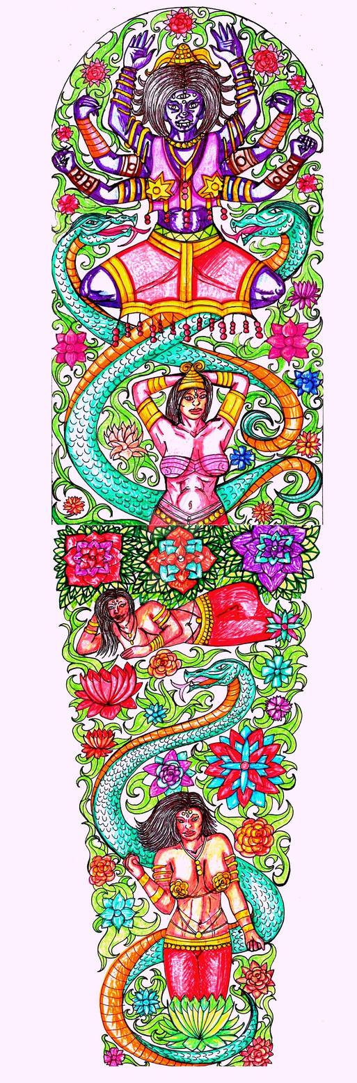 Goddess Mara the Tempter, full sleeve by thehoundofulster